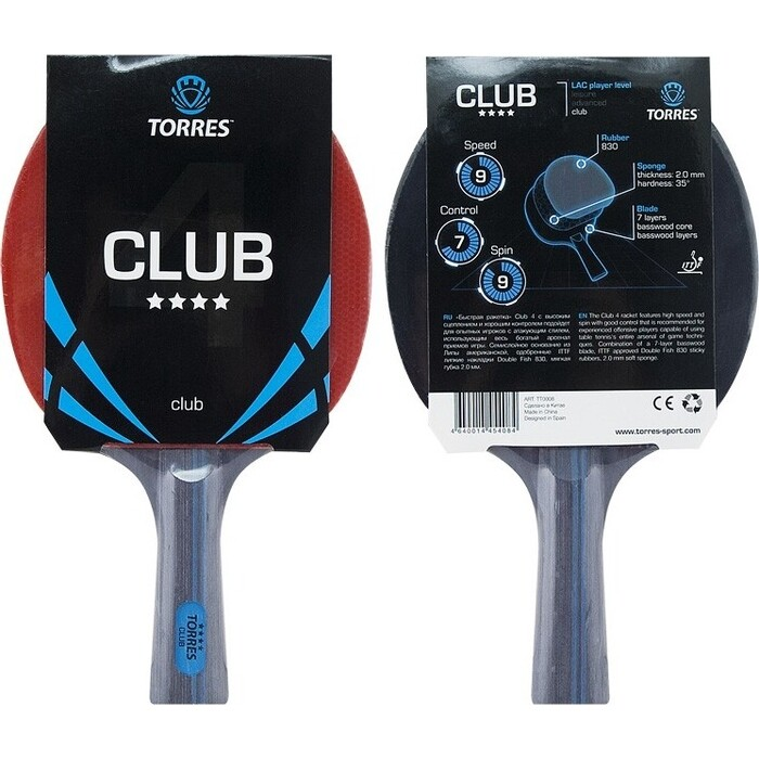 Ракетка для настольного тенниса Torres Club 4*, арт. TT0008, тренировок, накладка 2,0 мм, конич. ручка