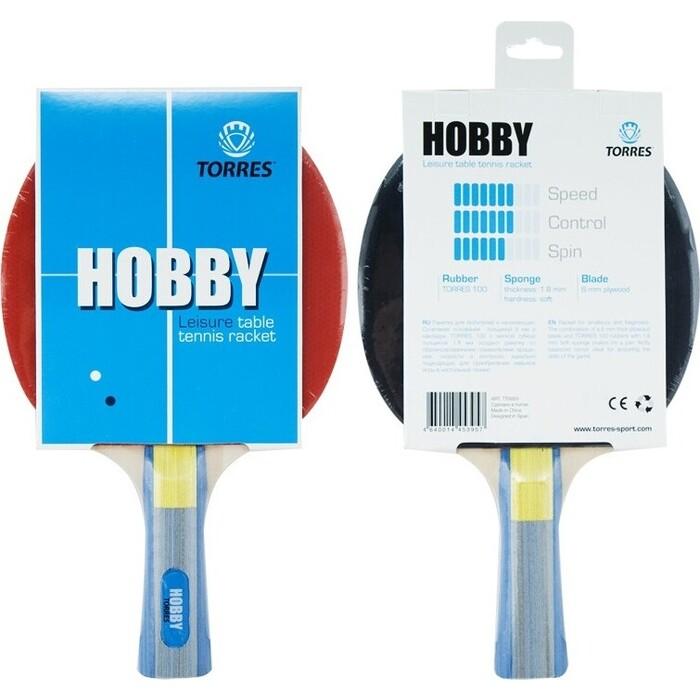 Ракетка для настольного тенниса Torres Hobby, арт. TT0003, любителей, накладка 1,8 мм, конич. ручка