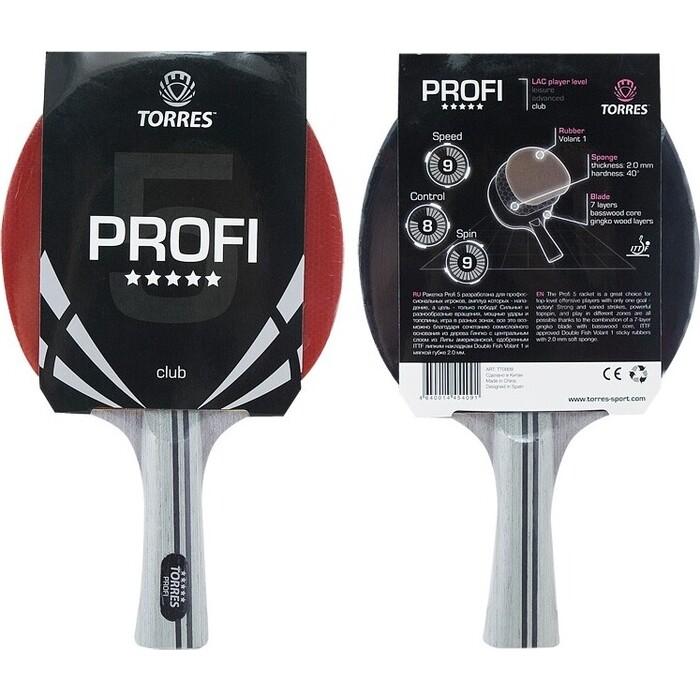 Ракетка для настольного тенниса Torres Profi 5*, арт. TT0009, спортсменов, накладка 2,0 мм, конич. ручка