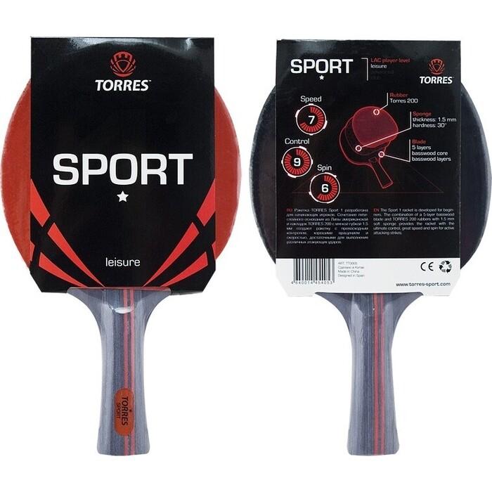Ракетка для настольного тенниса Torres Sport 1*, арт. TT0005, любителей, накладка 1,5 мм, конич. ручка