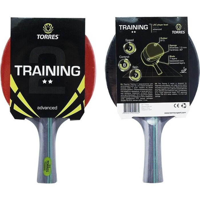 Ракетка для настольного тенниса Torres Training 2*, арт. TT0006, любителей, накладка 1,5 мм, конич. ручка