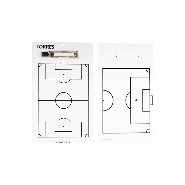 Тактическая доска Torres для футбола арт. TR1002S, маркерная, с зажимом, в компл. маркер, белая