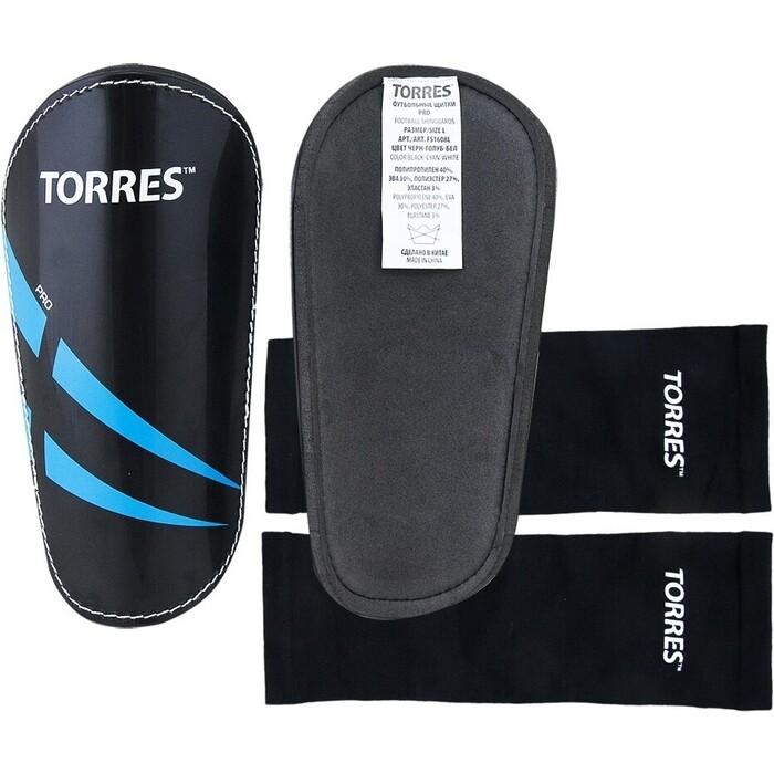 Щитки Torres арт. FS1608L, р. L, без голеностопа, заст., эласт.чулок, черно-сине-белый