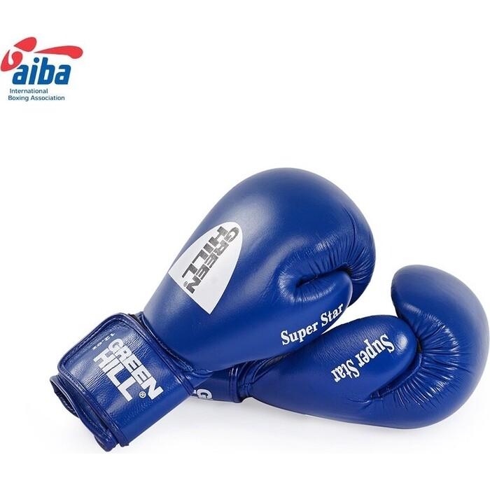 Перчатки боксерские GREEN HILL SUPER STAR арт. BGS-1213a-12-BL, 12oz, нат.кожа, одобр. AIBA, диз17, син.