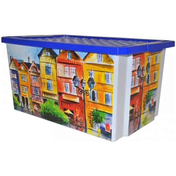 Ящик для хранения Plast Team BRANQ X-box 57л на роликах Город