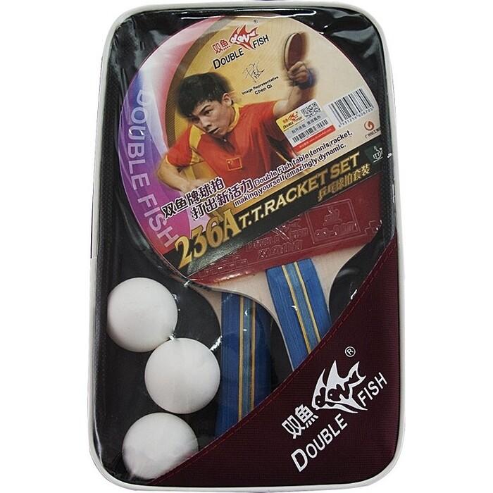 Набор для настольного тениса Double Fish арт. 236A, 2 ракетки и 3 мяча, наклад. 1,8 мм, конич. ручка