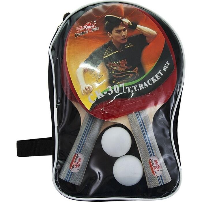 Набор для настольного тениса Double Fish арт. CK-307, 2 ракетки и мяча, наклад. 1,6 мм, конич. ручка