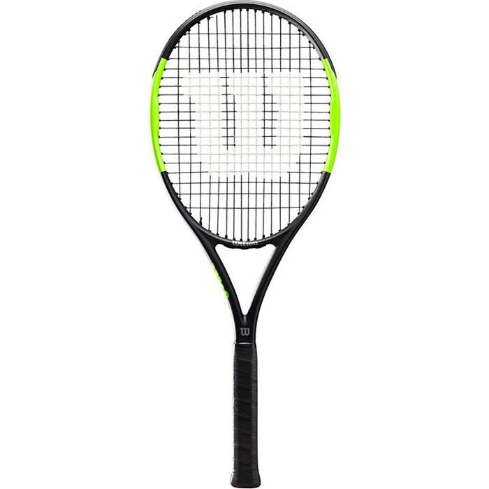 Ракетка для большого тенниса Wilson Blade Feel Team, артWR018910U2, любителей, со струнами, черно-зел