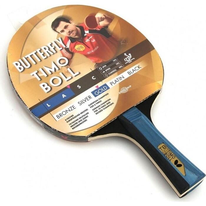 Ракетка для настольного тенниса Butterfly Timo Boll gold, тренировок, накладка 1,5 мм ITTF, анатом./кон. ручка