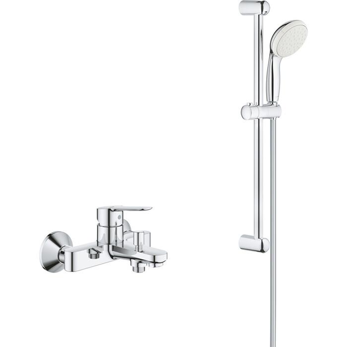 Смеситель для ванны Grohe BauEdge с душевым гарнитуром, хром (23605000, 27853001)