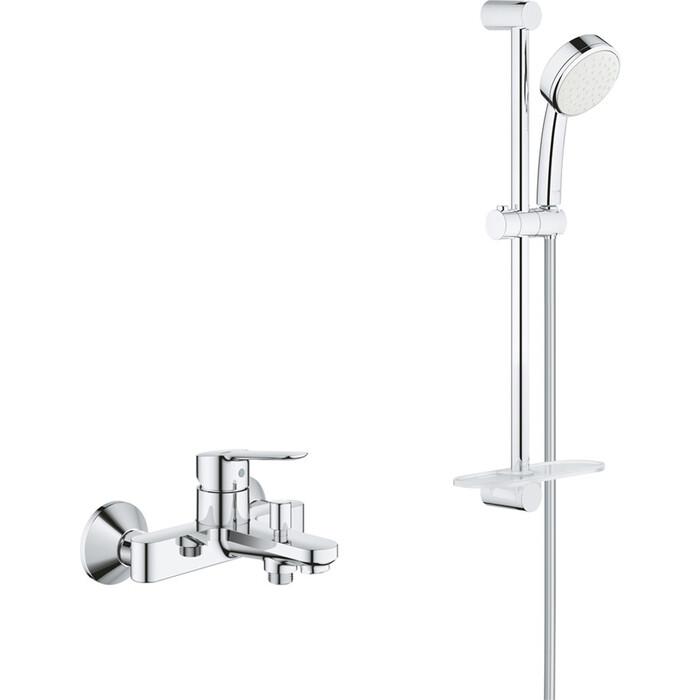 Смеситель для ванны Grohe BauEdge с душевым гарнитуром, хром (23605000, 26083002)