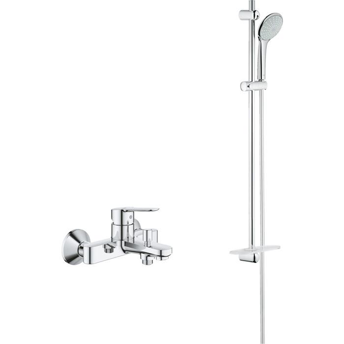 Смеситель для ванны Grohe BauEdge с душевым гарнитуром, хром (23605000, 27267001)