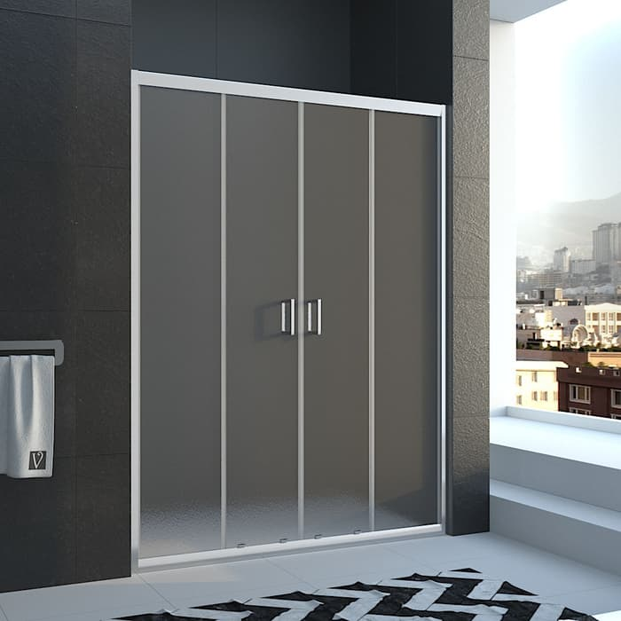 Душевая дверь Veconi Vianno 200x185 стекло рифленое Pear, профиль хром (VN45-200-02-19C1)