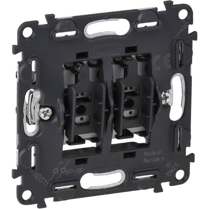 Выключатель Legrand кнопочный двухклавишный Valena Мех In Matic 6A 250V подсветка безв. зажим 752018