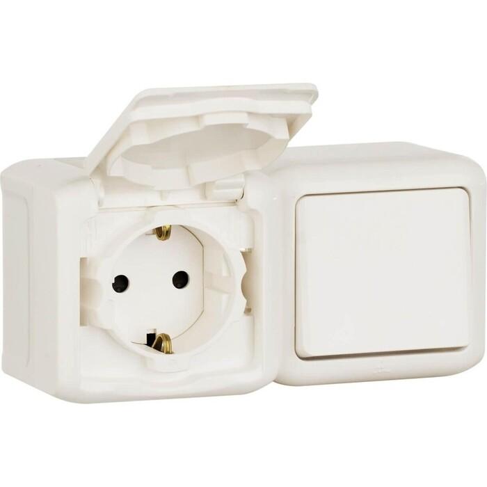 Выключатель Legrand Блок одноклавишный и розетка 2 К+З Quteo 16A 250V с/з со шторками крышкой IP44 белый 782318 чайник тюльпан 2 в з