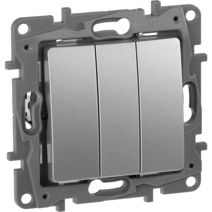 Выключатель Legrand трехклавишный Etika 10A 250V алюминий 672413