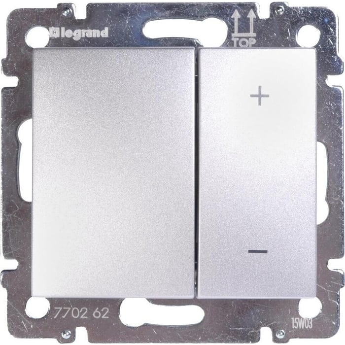 Диммер Legrand кнопочный Valena 600W алюминий 770274