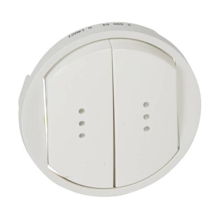 Лицевая панель Legrand Celiane выключателя двухклавишного с подсветкой белая 068004