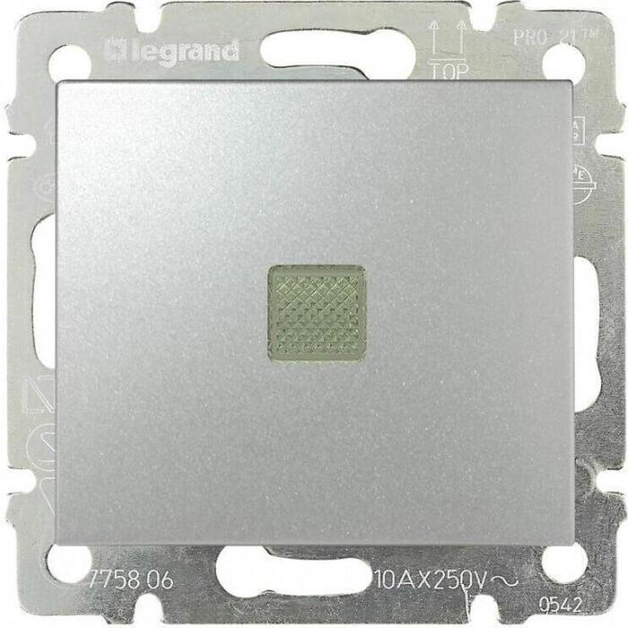 Переключатель Legrand одноклавишный промежуточный Valena 10A 250V с подсветкой алюминий 770148