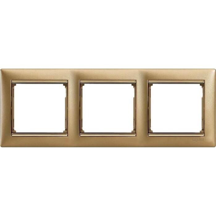 Рамка Legrand 3-постовая Valena матовое золото 770303