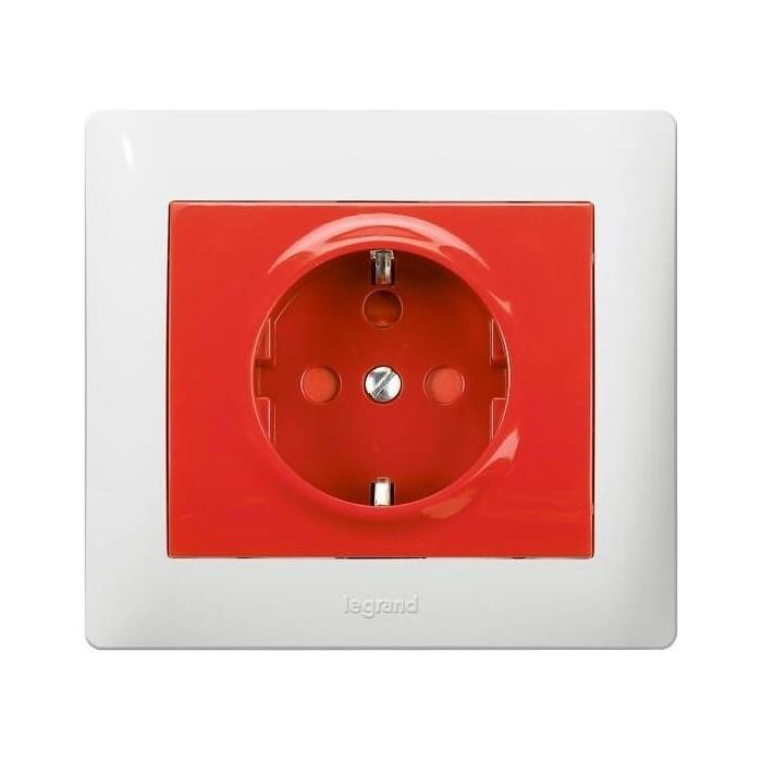 Розетка Legrand 2 K+3 Galea Life Magic 16A 250V с/з с блокировкой красная 771029