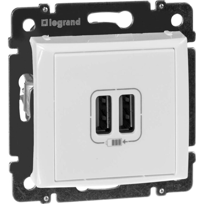 Розетка Legrand USB двойная Valena 240V/5V 2400mA белая 770470