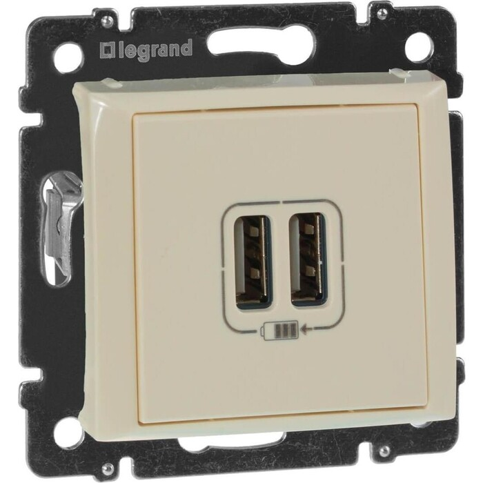 Розетка Legrand USB двойная Valena 240V/5V 2400mA слоновая кость 774170