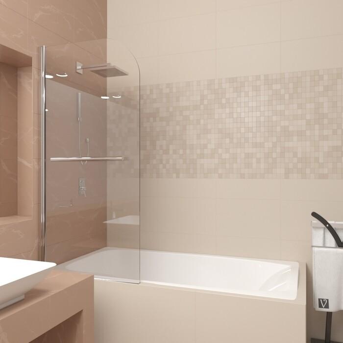 Шторка для ванной Veconi Palau 80 стекло прозрачное, профиль хром (PL80-80-01-19C1)
