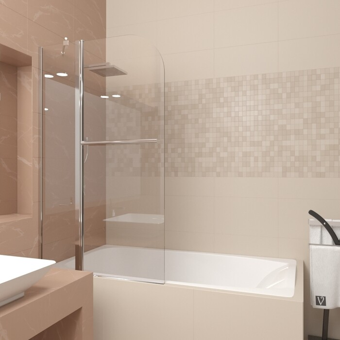Шторка для ванной Veconi Palau 80 стекло прозрачное, профиль хром (PL81-80-01-19C1)