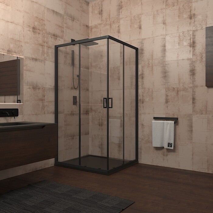 Душевой уголок Veconi Rovigo 80x80 стекло прозрачное, профильчерный (RV13-80K-01-19C1)