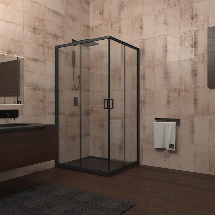 Душевой уголок Veconi Rovigo 90x90 стекло прозрачное, профильчерный (RV13-90K-01-19C1)