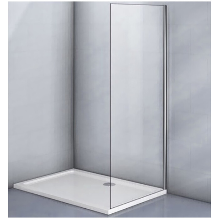 Боковая стенка Veconi KP03 80x185 стекло рифленое, профиль хром (KP03-80-02-19C1)