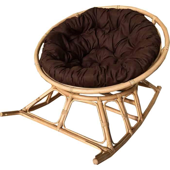 Кресло-качалка Garden story Папасан Харли D100 см на полозьях каркас медовый/подушка коричневая НР100-МТ002