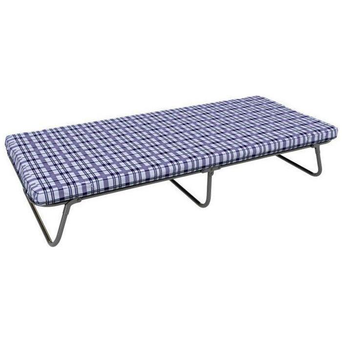 Кровать-тумба МебельТрейд Надежда (Марта) каркас черный/ткань бело-синяя клетка КТ-01С