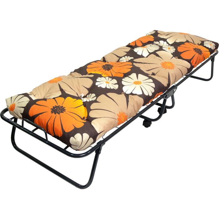 Кровать-тумба Ольса Юлия с 5П каркас черный/ткань кофейная разноцветные цветы С5П