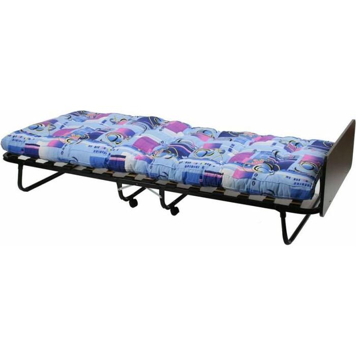 Кровать-тумба МебельТрейд Отель каркас черный/ткань синие цветы О215-МТ004