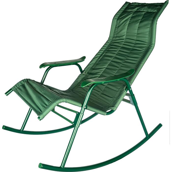 Кресло-качалка Ольса Нарочь каркас зеленый/ткань зеленая с238