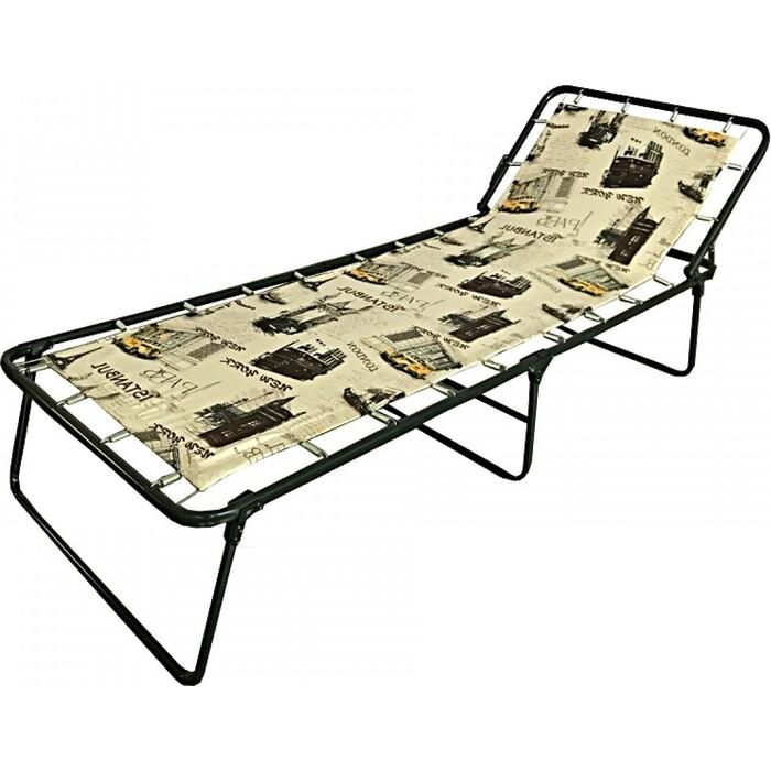 Кровать раскладная Ольса Надин жесткая каркас черный/ткань разноцветная С407