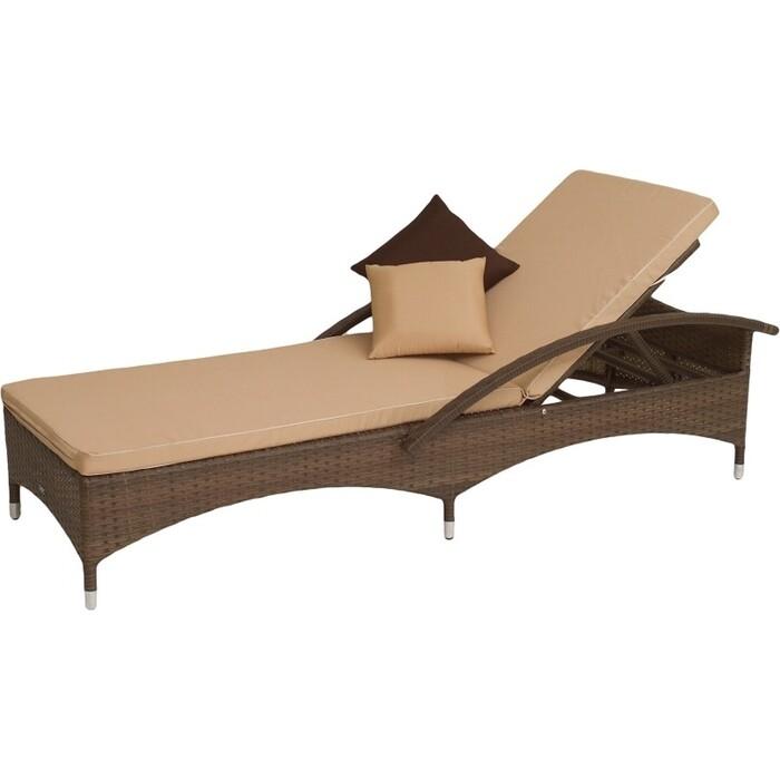 Лежак Мебиус Мальта-2 ротанг каркас кофейный/подушки бежевые