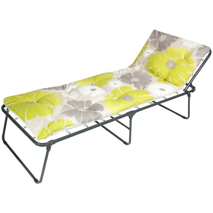Кровать раскладная Ольса Надин мягкая крошка каркас черный/ткань желто-серые цветы С648 мягкая мебель раскладная