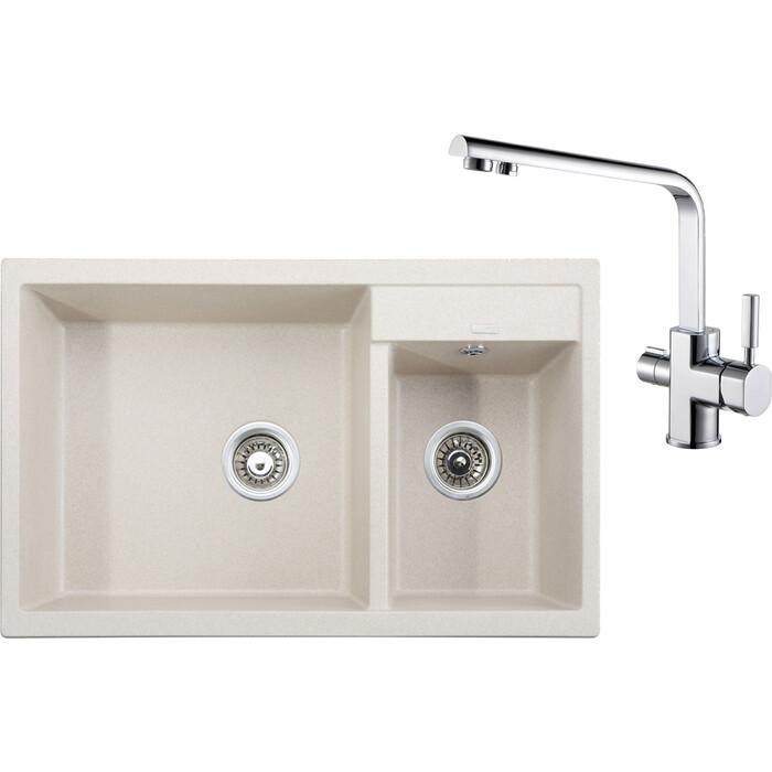 Кухонная мойка и смеситель Kaiser Granit KG2M-8050 Sand Beige песочный мрамор (KG2M-8050-SB, 40144)