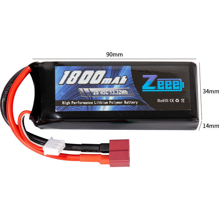 Аккумулятор Zeee Power Zeee Power 2s 7.4v 1800mah 45c SOFT