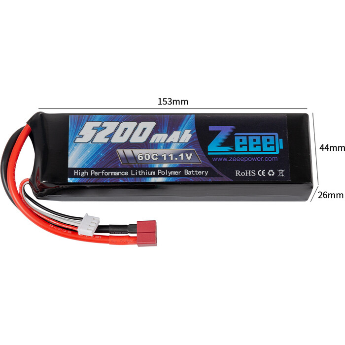 Аккумулятор Zeee Power 3s 11.1v 5200mah 60c SOFT+ TRX Plug