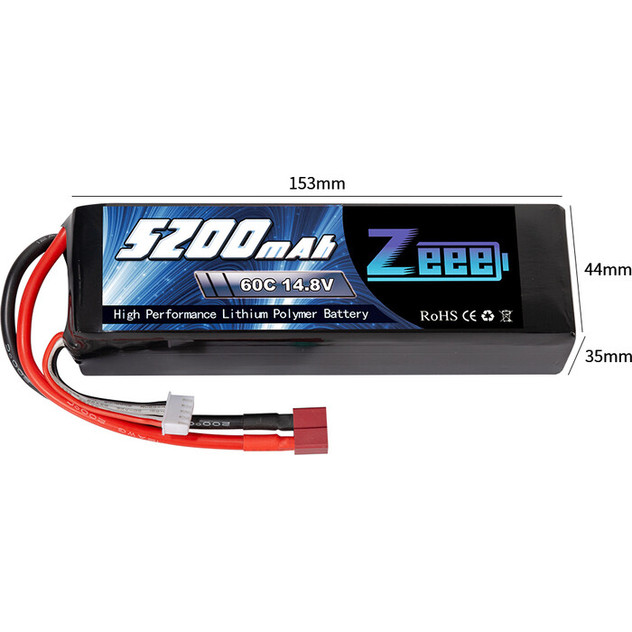 Аккумулятор Zeee Power 4s 14.8v 5200mah 60c SOFT + TRX Plug