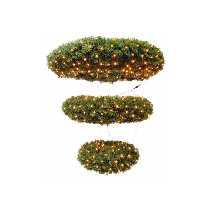 Венок-люстра новогодний Triumph Tree ЭЛЕГАНТНЫЙ 3 КОЛЬЦА ДИАМ. 120 СМ 632 ЛАМП ЗЕЛЕНЫЙ