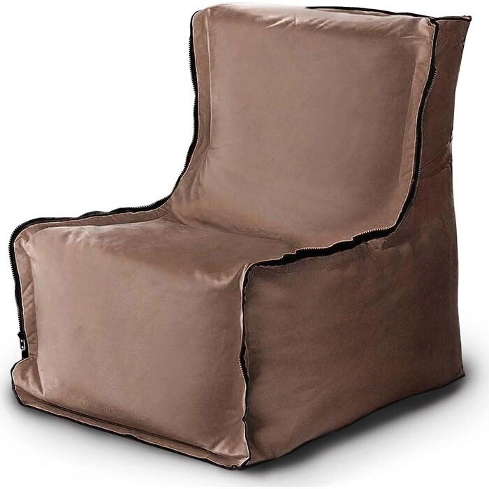 Бескаркасное кресло Mypuff Лофт бежевый мебельный велюр lf_474