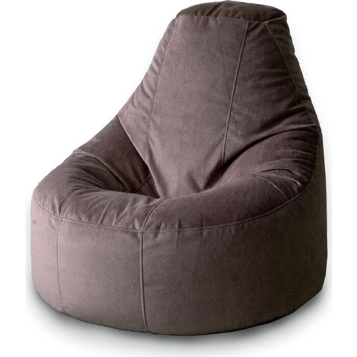 Кресло бескаркасное Mypuff Люкс запыленный шоколад мебельный велюр bn_424