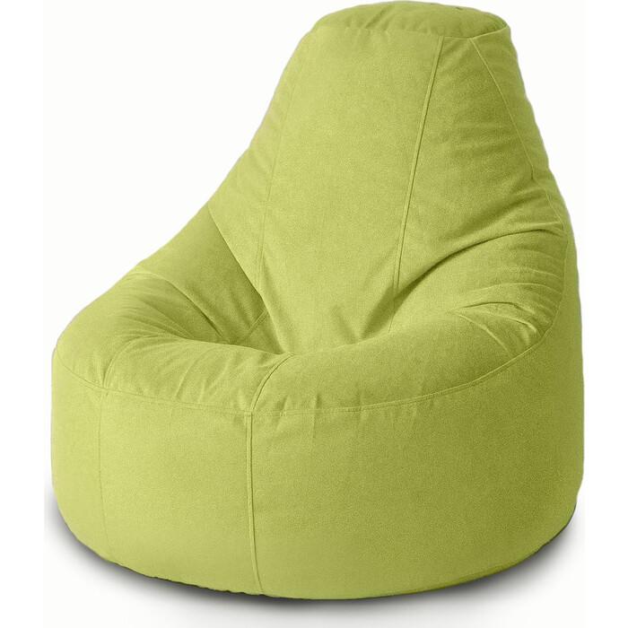 Кресло бескаркасное Mypuff Люкс салатовый мебельный велюр bn_415