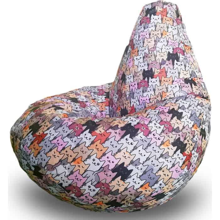 Кресло бескаркасное Mypuff Груша коты серые размер комфорт принтованный оксфорд bbb_592