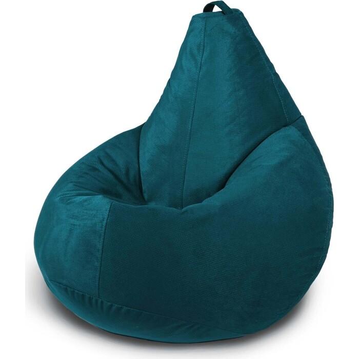 Кресло бескаркасное Mypuff Груша глубокая бирюза размер комфорт мебельный велюр Тори bbb_546